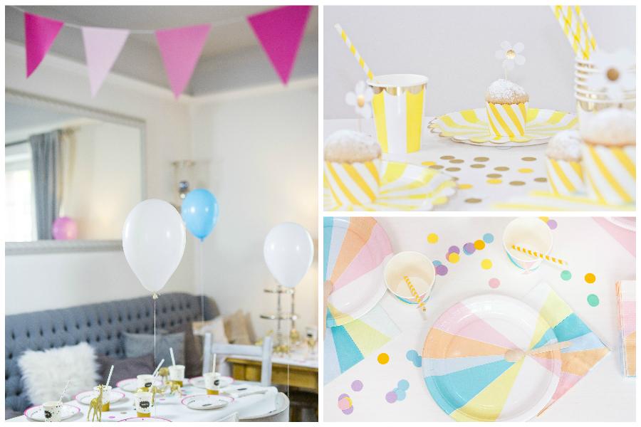 Bunte Dekoration für den Kindertisch auf der Hochzeit