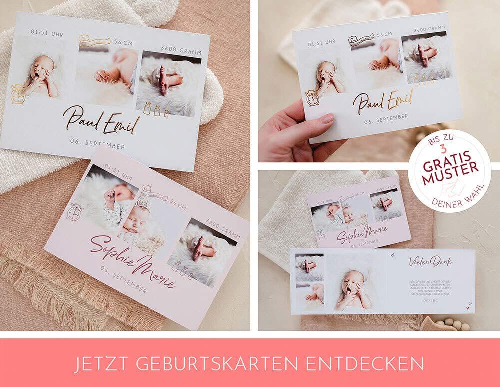 Geburtskarten für Mädchen in Rosa und Weiß