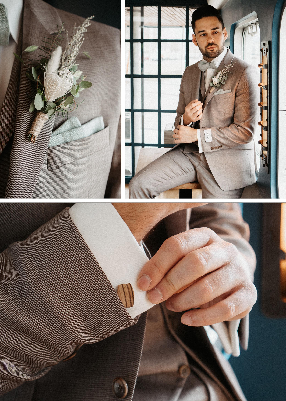 Bräutigam in hellem Anzug mit Ansteckblume macht sich für die Hochzeit auf dem Wasser fertig.