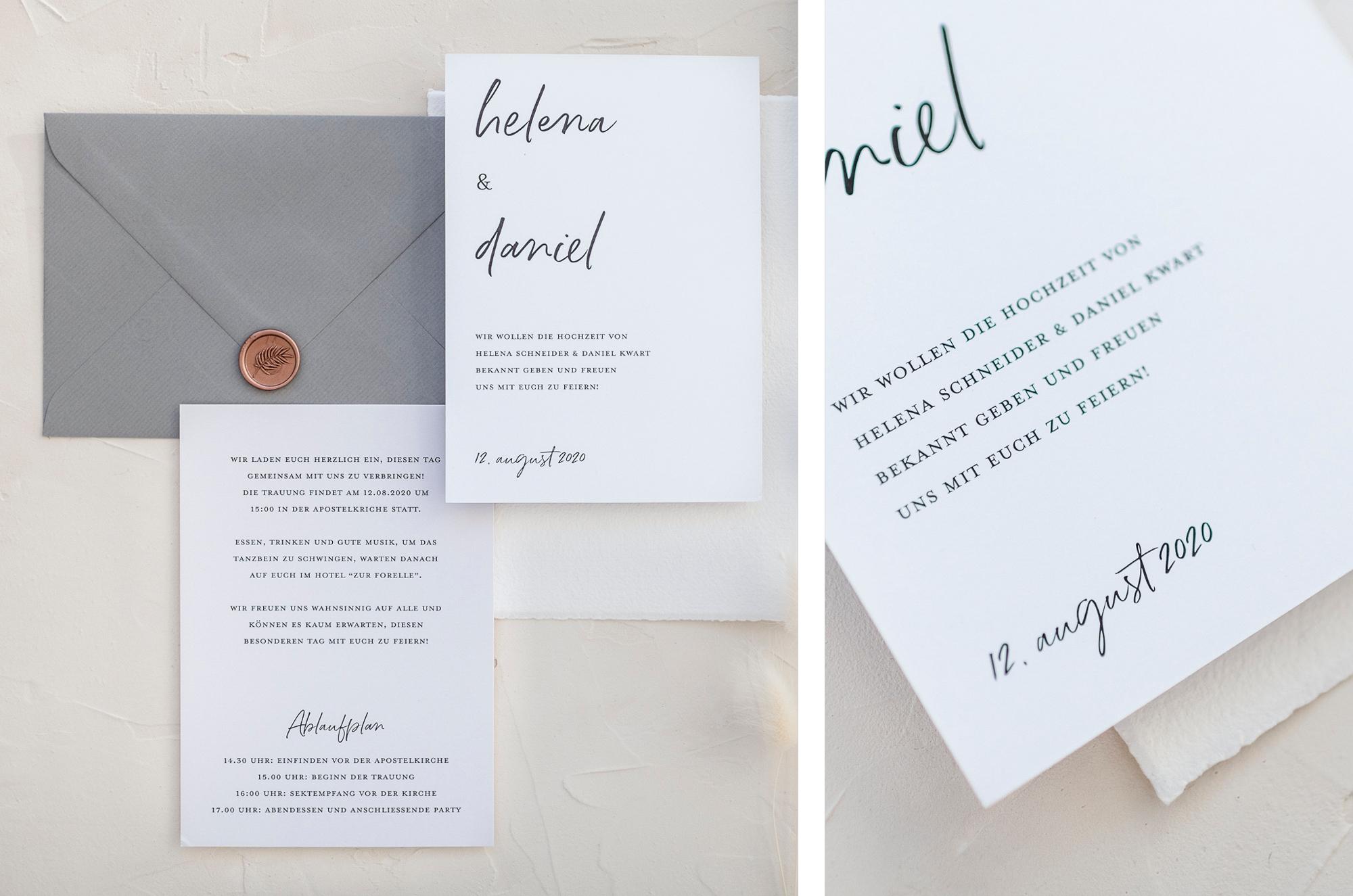 Minimalistische Hochzeitseinladung mit Handlettering