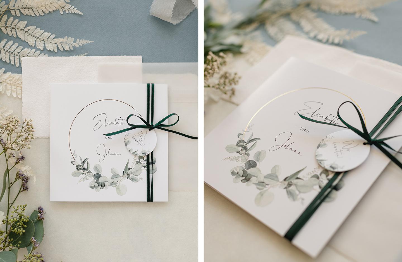 Hochzeitseinladung mit goldener Veredelung und Eukalyptus-Illustrationen ist ein Hochzeitstrend 2021.