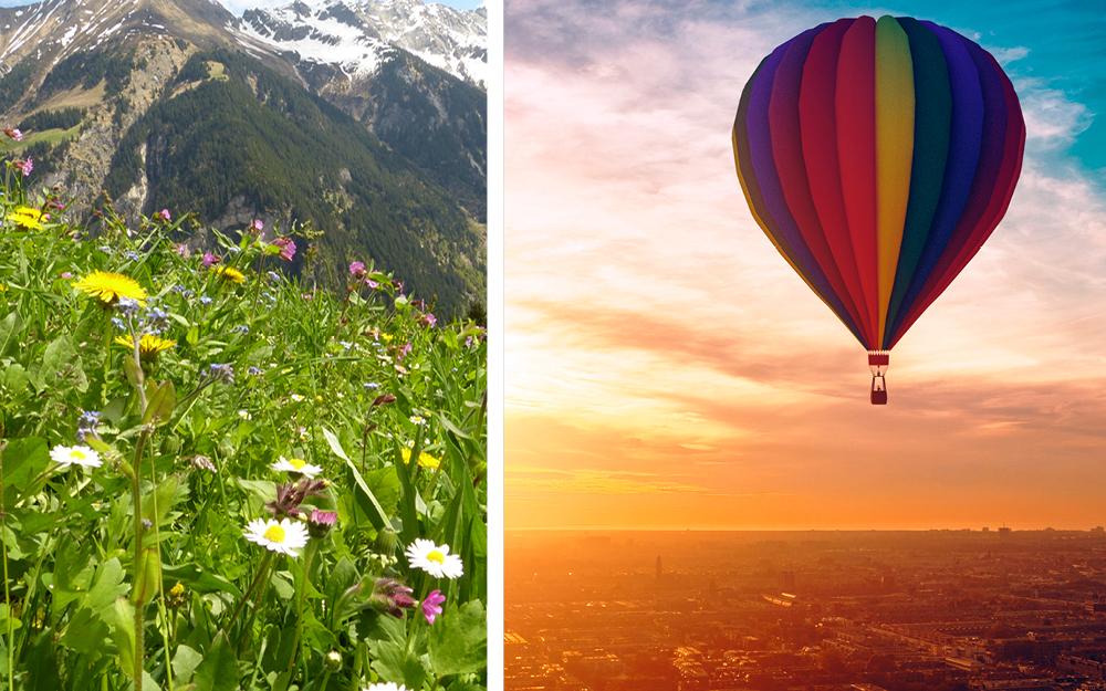 Almwiese und Heißlauftballon