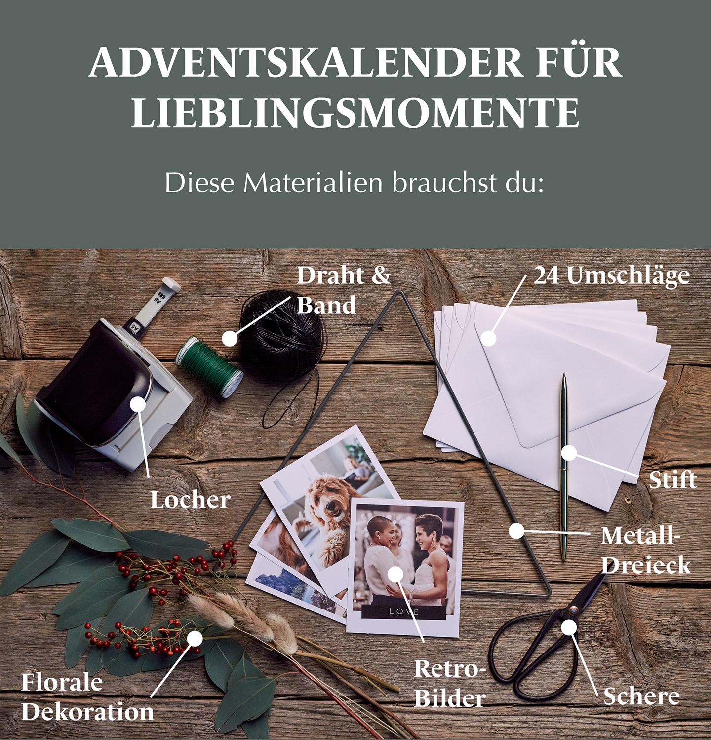 Materialien für Adventskalender selber basteln mit Retro Bildern