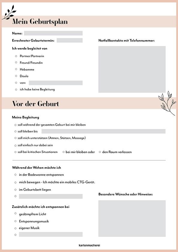 Geburtsplan PDF zum Downloaden und Ausfüllen am Computer