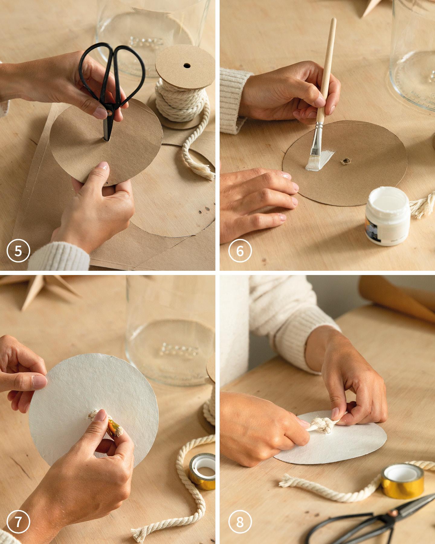 Ein ausgeschnitter Kreis wird mit weißer Farbe bemalt als Deckel für den Adventskalender im Glas.