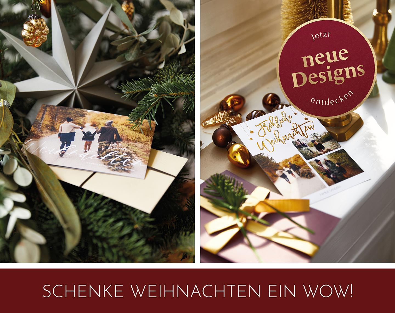 Weihnachtskarten mit viel Platz für Familienfotos, um glückliche Grüße zu verschicken.