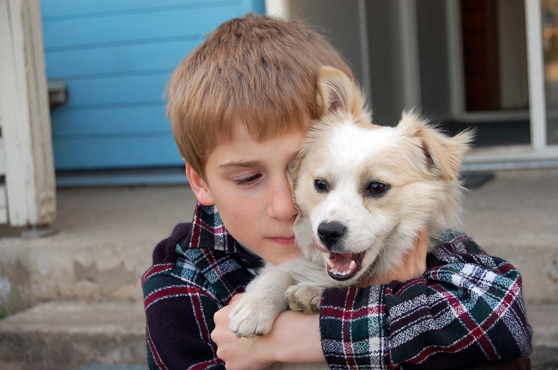 Junge mit süßem Hund