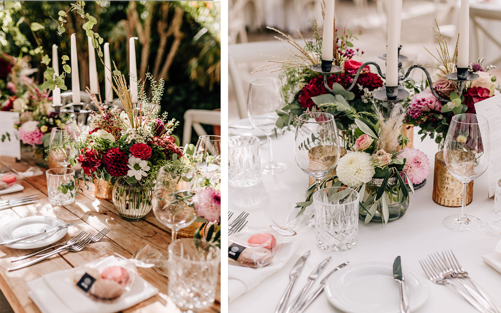 Hochzeitstisch mit Blumen