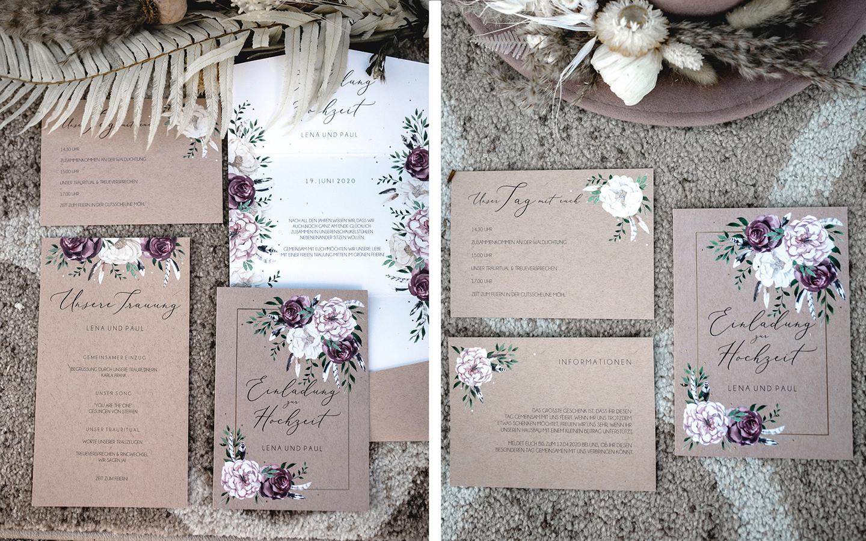 """Die Papeterieserie """"Bohemian Summer"""" besteht aus Papier im Kraftpapier-Look geschmückt mit handgezeichneten Blumen in Lila, Rosa und Weiß."""