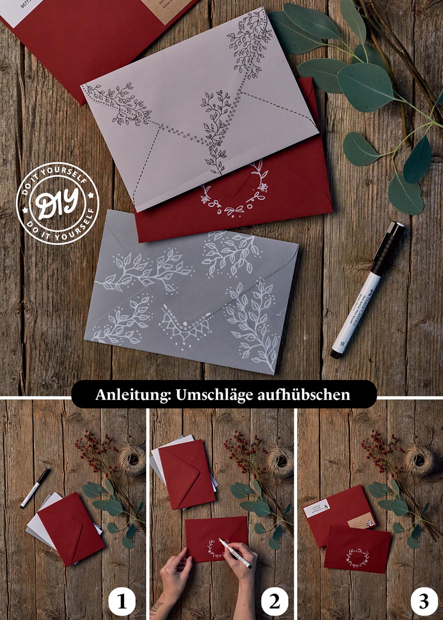 Gestaltung von Umschlägen für Weihnachtskarten oder Gutscheine zum Verschicken einfach erklärt.