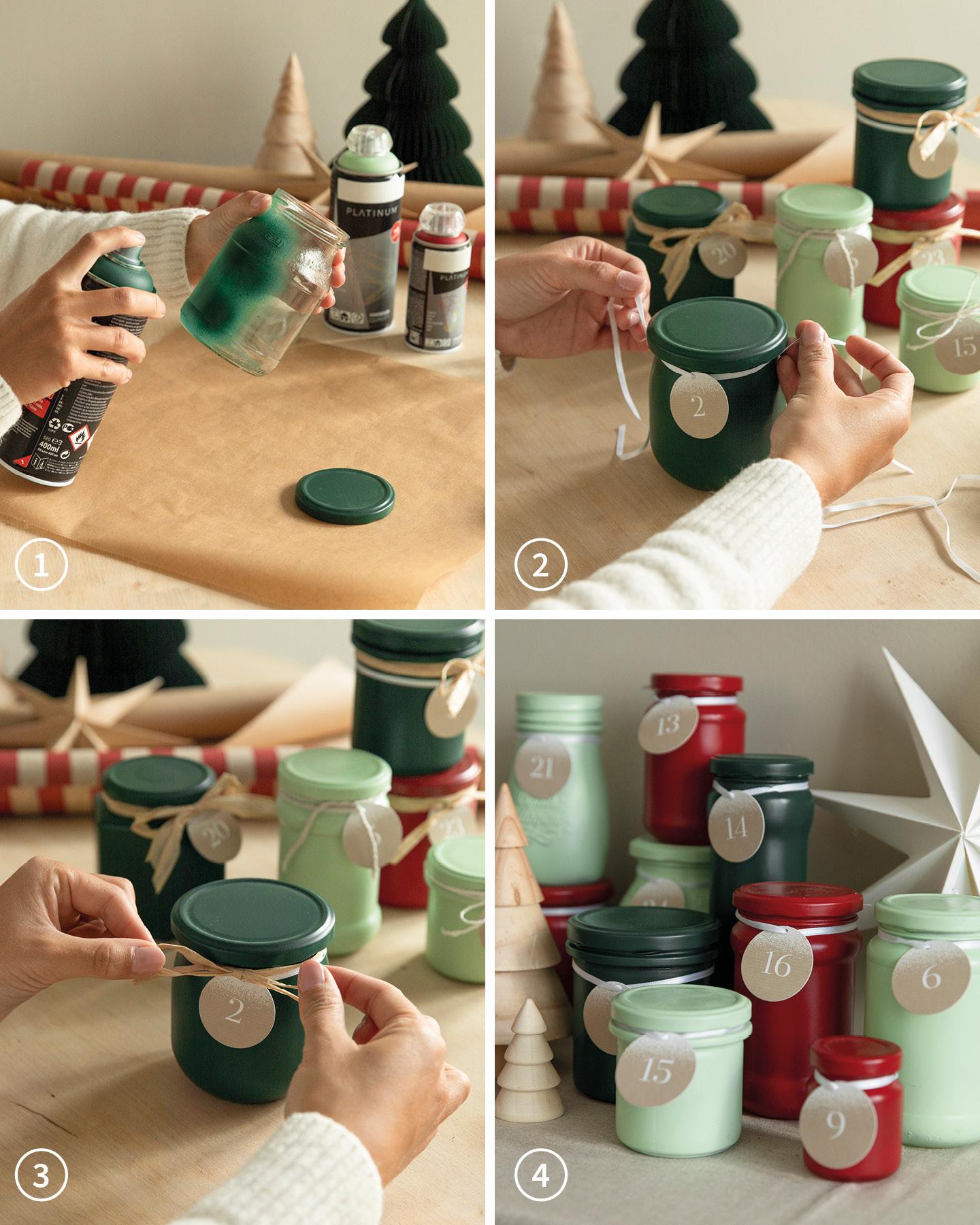 24 alte Gläser wurden mit grüner und roter Farbe besprüht und als Adventskalender aufgestellt.