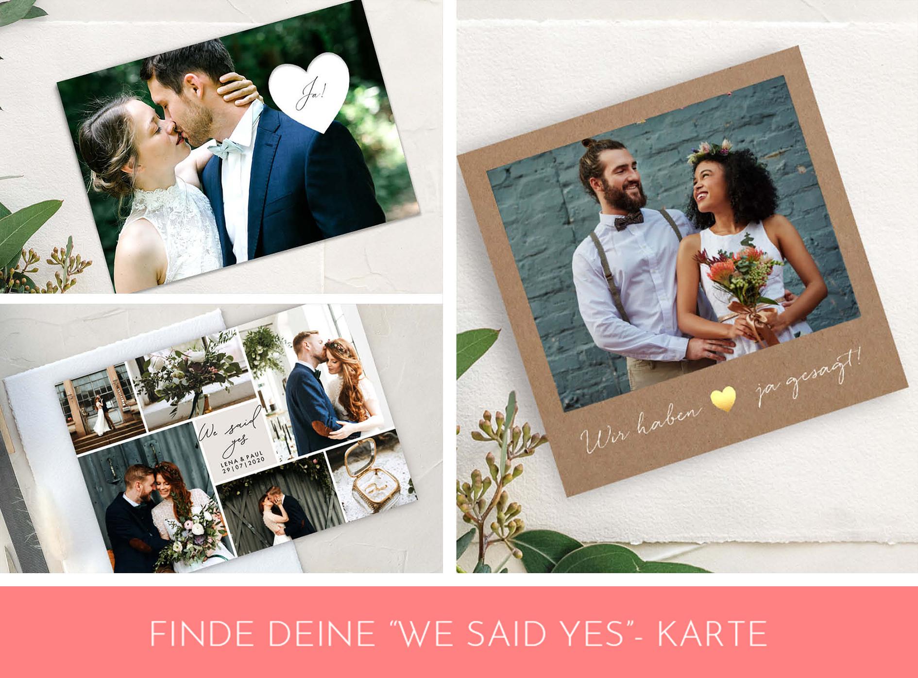Wir haben ja gesagt Karten nach der Hochzeit zu zweit.
