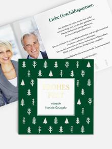 Quadratische Weihnachtskarte in Tannengrün mit Goldfolie
