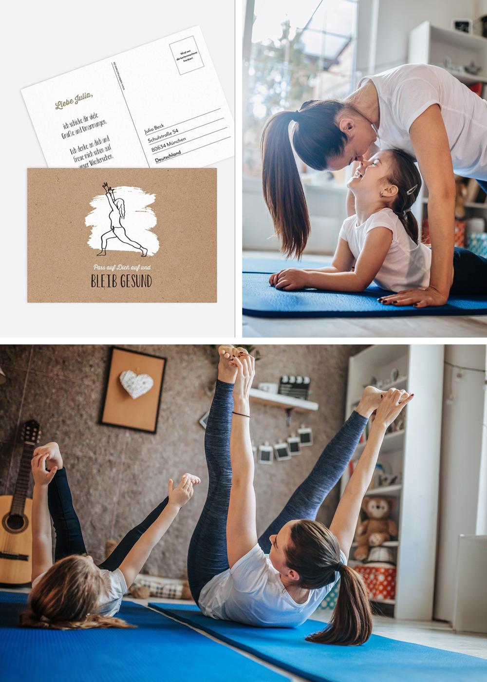 Postkarte mit Alltagsmomenten Yoga zu Hause