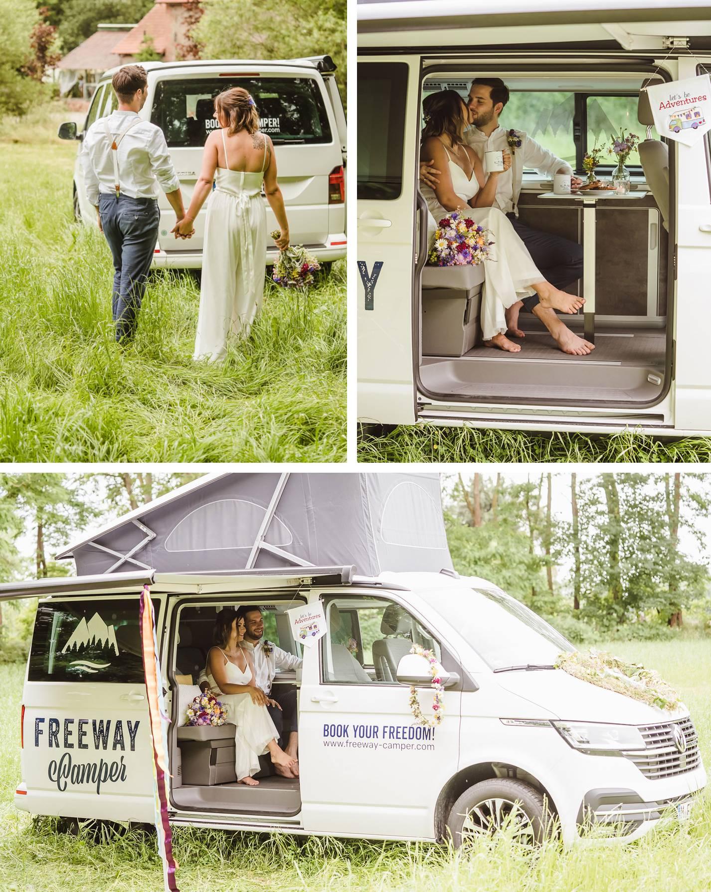 Hochzeitspaar sitzt nach der Trauung im Camper Van bei ihrer Camper Hochzeit.