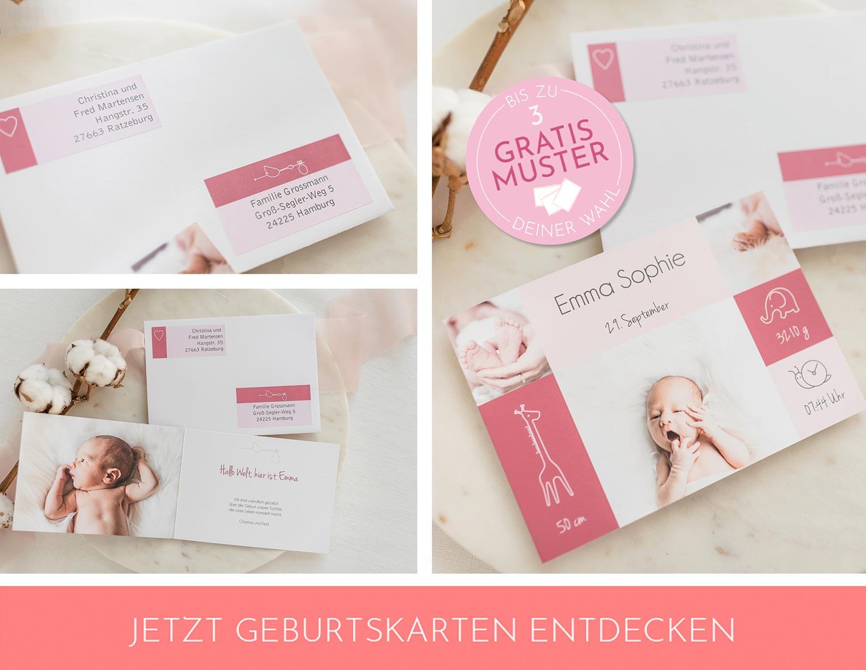 Süße Geburtskarten für Mädchen
