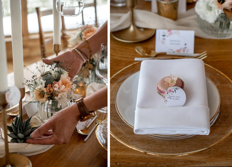 Für die Hochzeitscheckliste: Süßes Gastgeschenk für die Hochzeitsgäste: Macaron mit persönlichem Gruß