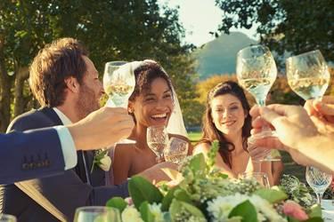 Brautpaar sitzt mit ihren Gästen am Brauttisch und stößt mit ihnen an
