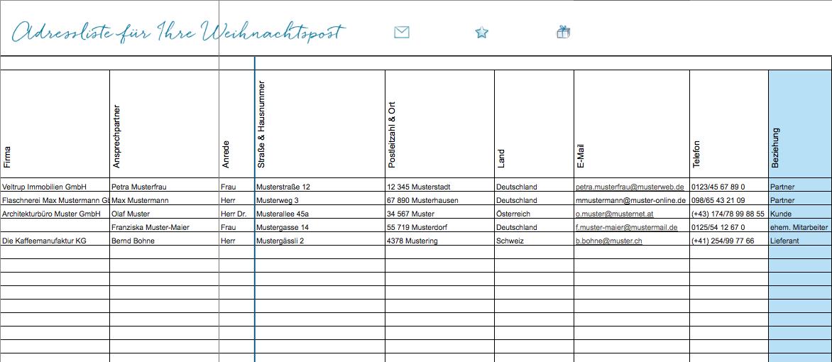 Adressmanagement für geschäftliche Weihnachtspost: Excel-Vorlage zum ...