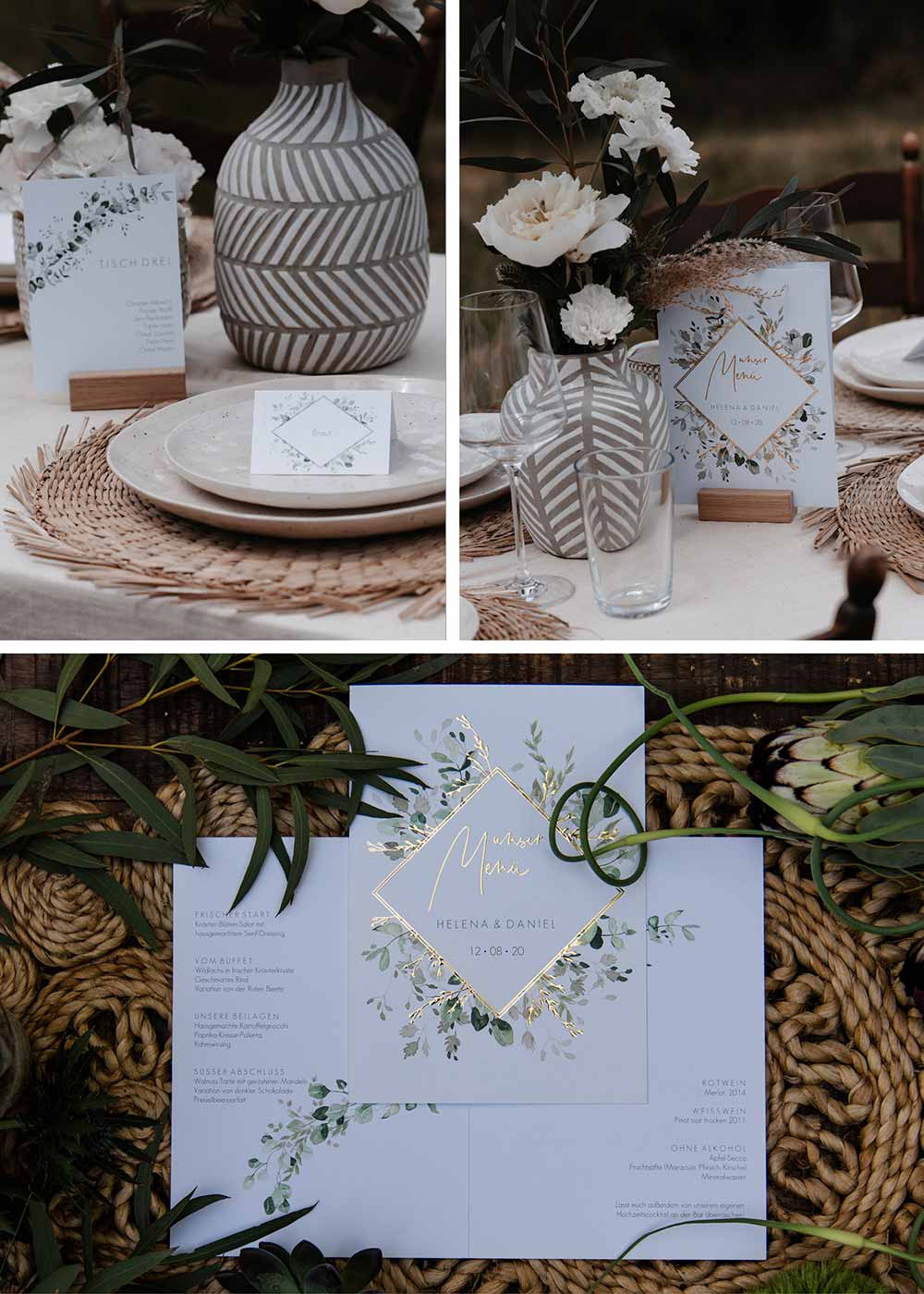 """Die Tischpapeterie ist einheitlich gestaltet im Design """"Gold and Green"""" und angepasst an den Boho-Greenery Stil."""