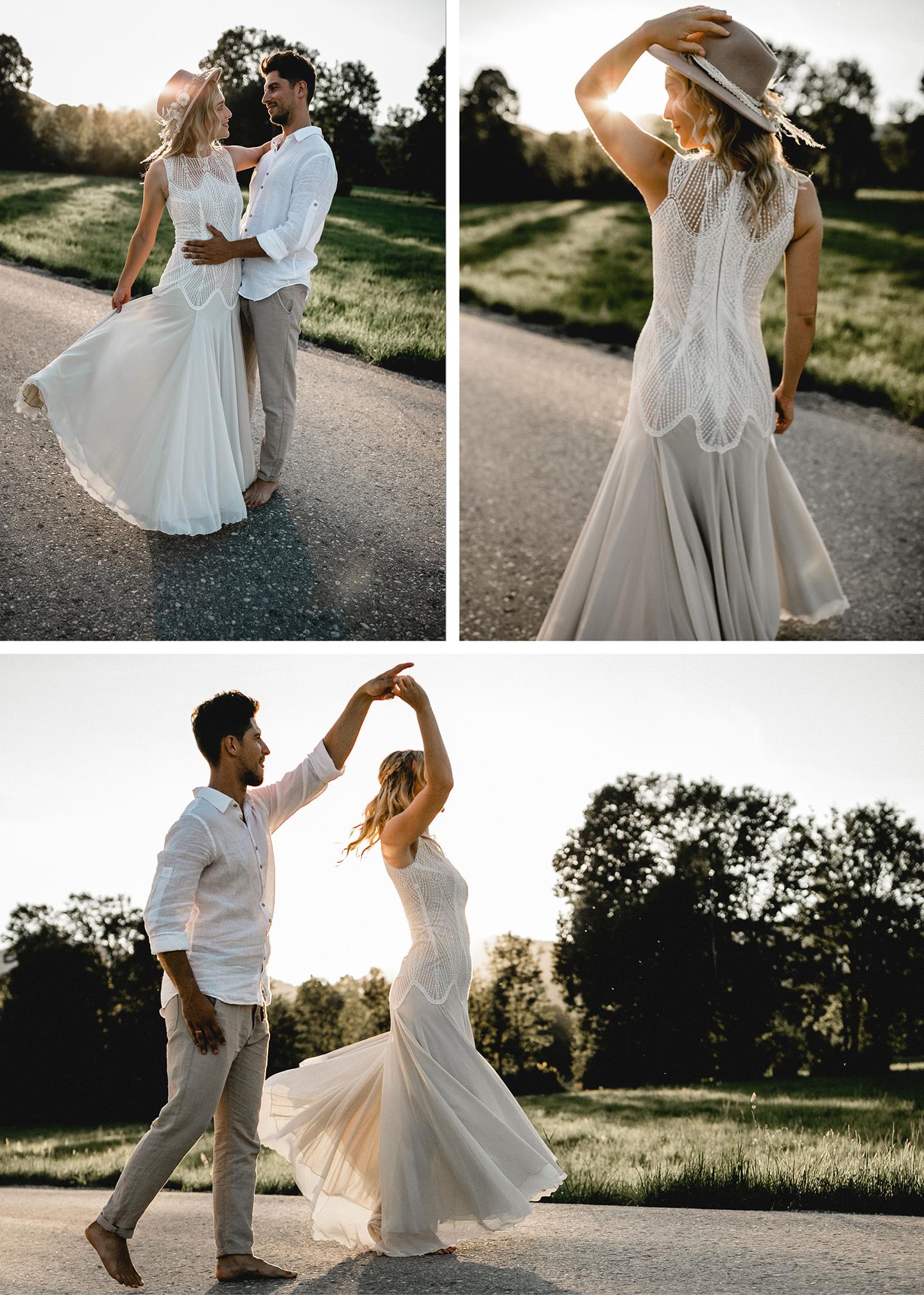 Braut und Bräutigam tanzen auf allen drei Bildern gemeinsam barfuß in der untergehenden Sonne auf der unbefahrenen Straße vor der grünen Wiese.