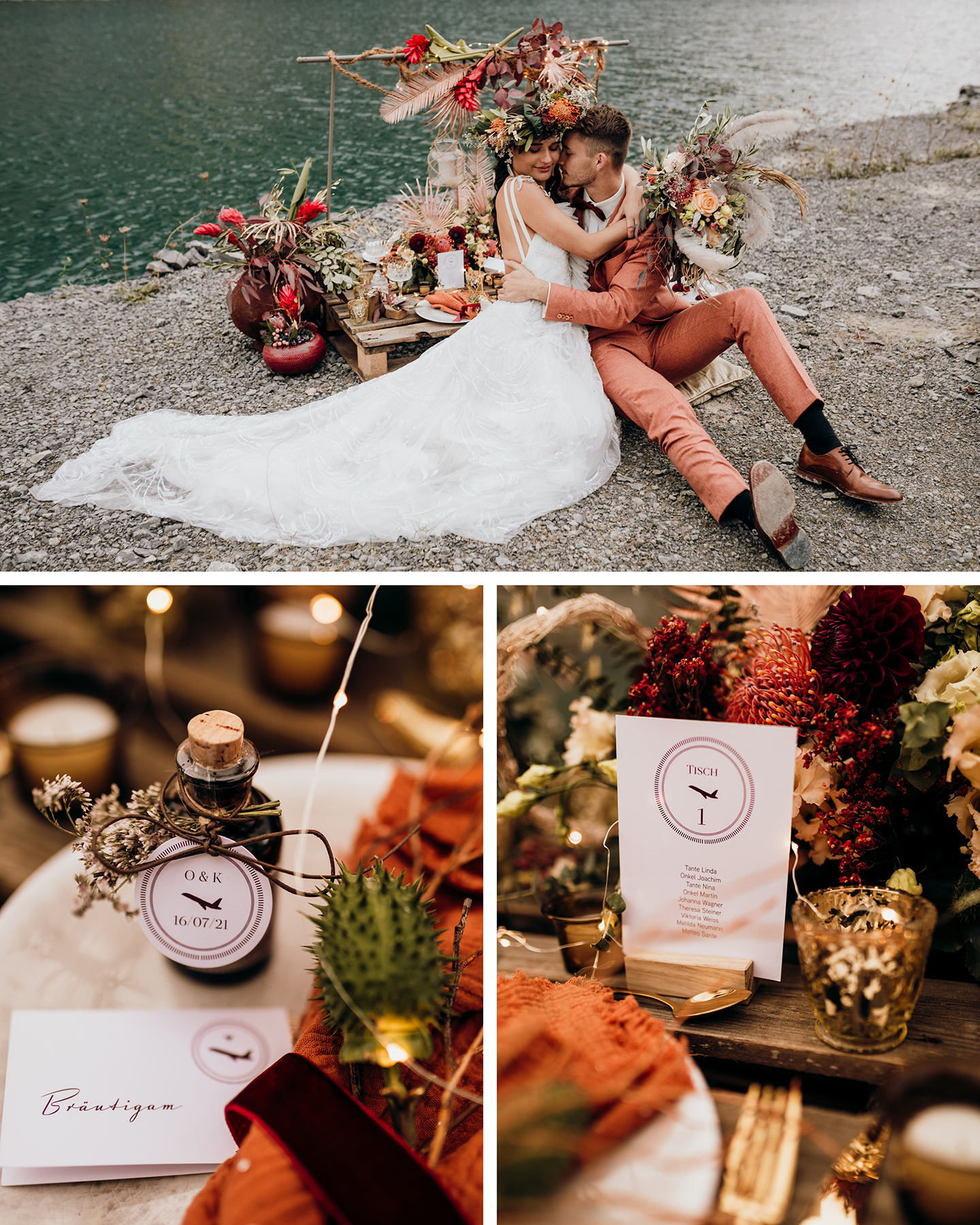 Eine Hochzeitstafel am See ist dekoriert mit orangen Blumen und Papeterie mit Flugzeug-Illustrationen.