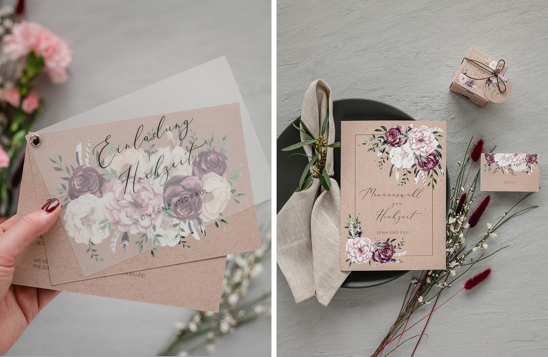 Hochzeitspapeterie im floralen Design