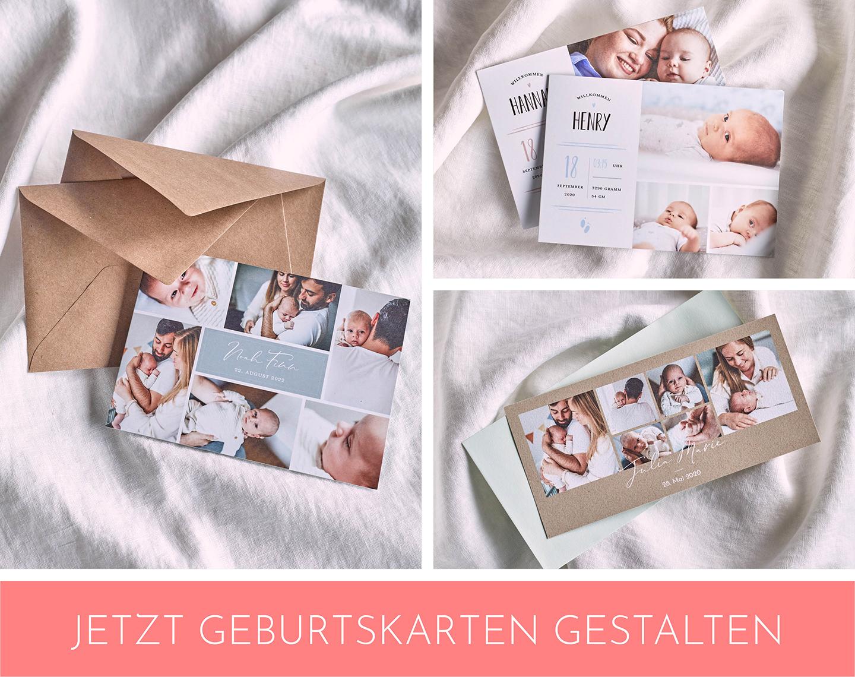 Collage mit schönen Geburtskarten