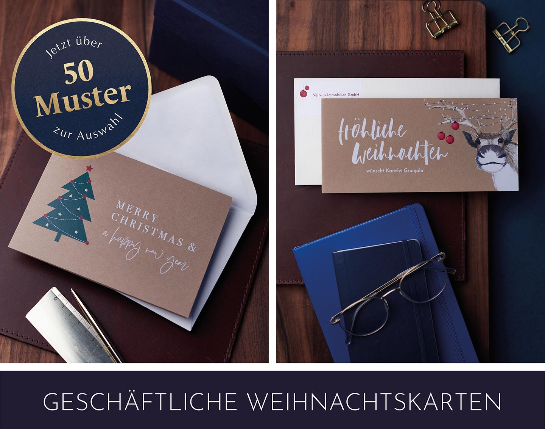 Geschäftliche Weihnachtskarten im Kraftpapier-Look, um stilvoll für das Geschäftsjahr danke zu sagen