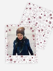 Retro Bild mit Schneeflocken in Rot & Weiß