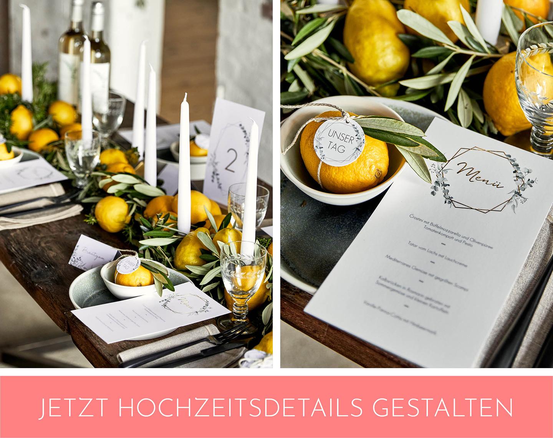 Checkliste Hochzeitsdeko Papeterie steht auf Boho Tischtafel