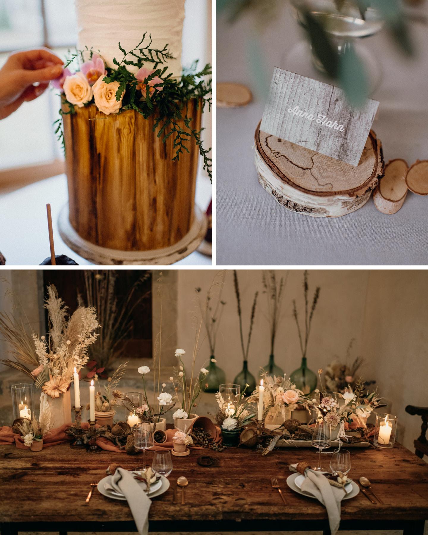 Hochzeitsdeko Trends 2021: Deko mit viel Holz