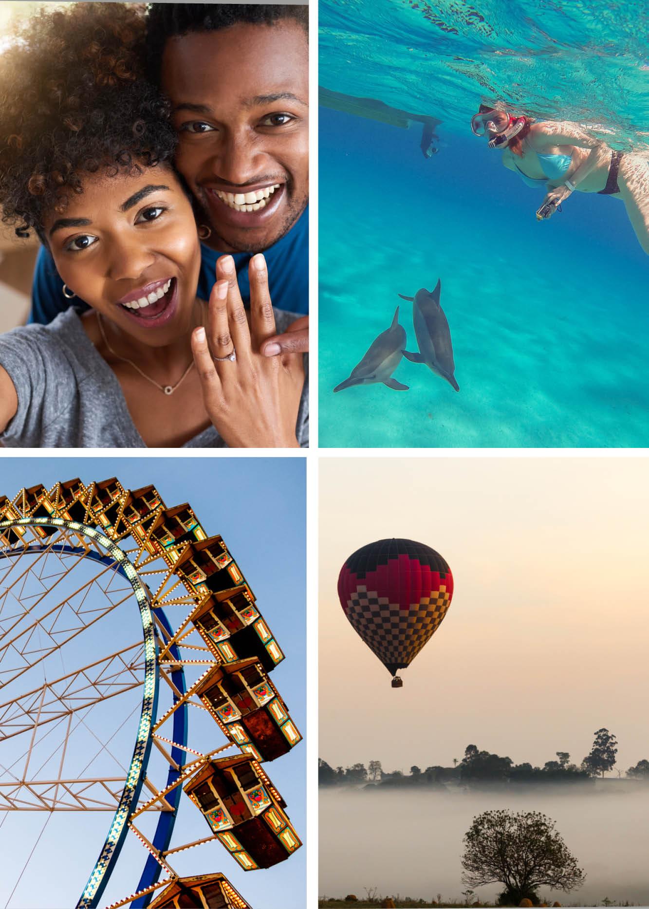 Antrag zu Hause, beim Delphinschwimmen, im Karusell oder im Heißluftballon