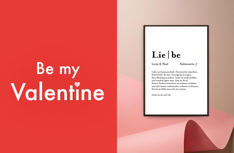 Als Geschenkidee zum Valentinstag wird ein Poster mit der Definition von Liebe an eine Wand gehängt.