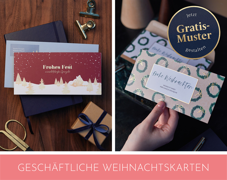 Business Weihnachtskarten mit edler Folienveredelung in Gold.