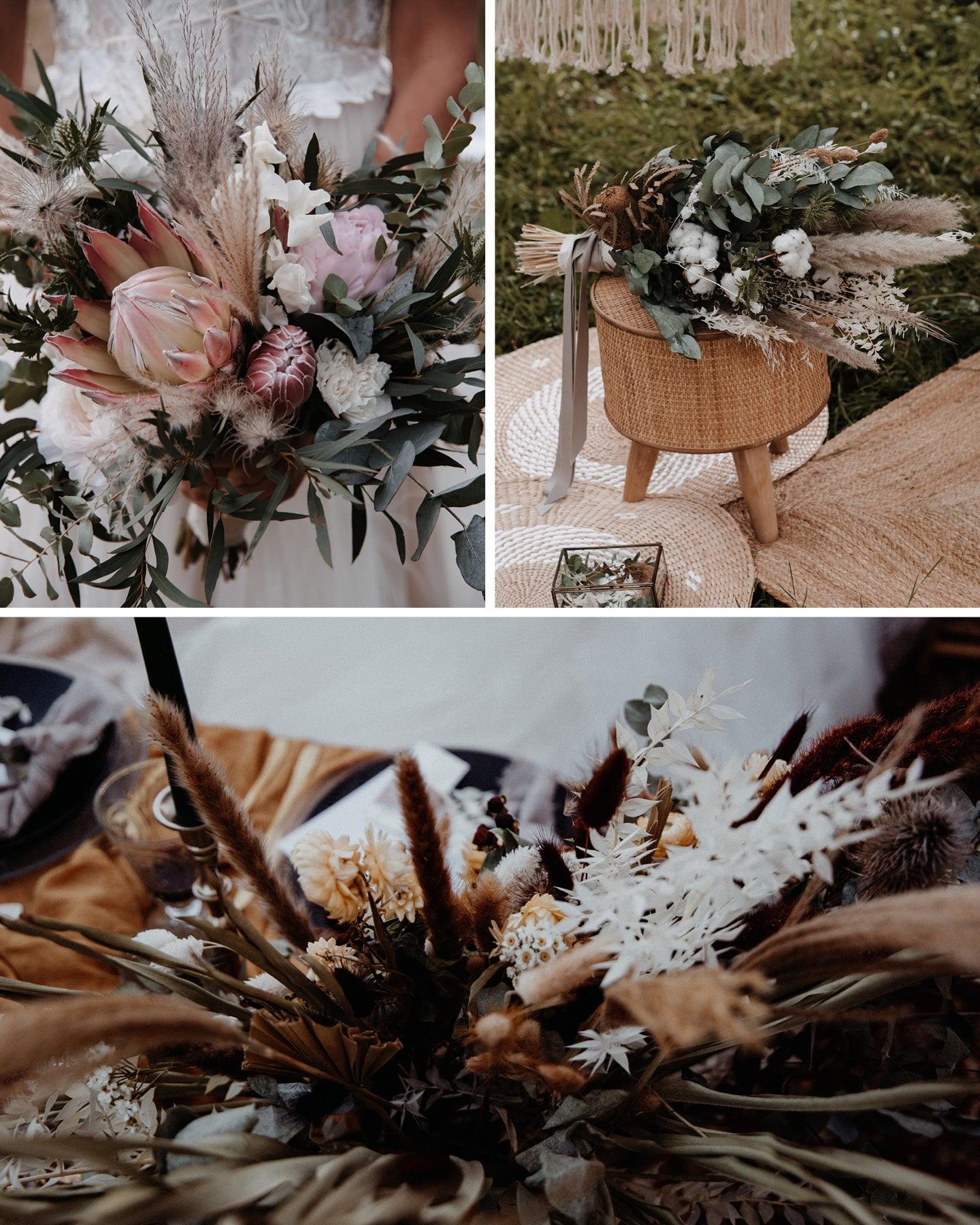 Hochzeitsdeko Rends 2021: Trockenblumen mit frischen Blüten