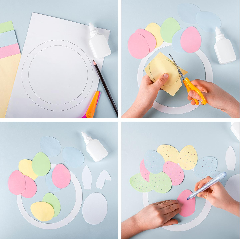 Bunte Ostereier werden aus Papier ausgeschnitten und als Kranz zusammen geklebt.