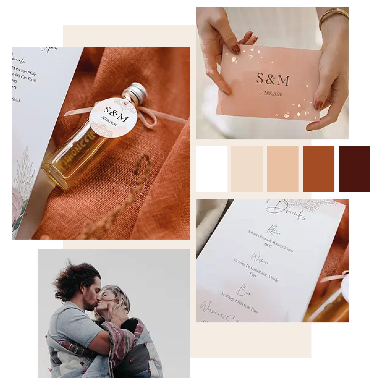 Collage aus 4 Bildern zeigt Hochzeitspapeterie in warmen Erdtönen und mit goldener Veredelung.