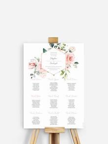 Sitzplan mit Blüten zeigt Gästen ihren Sitzplatz für die Hochzeit