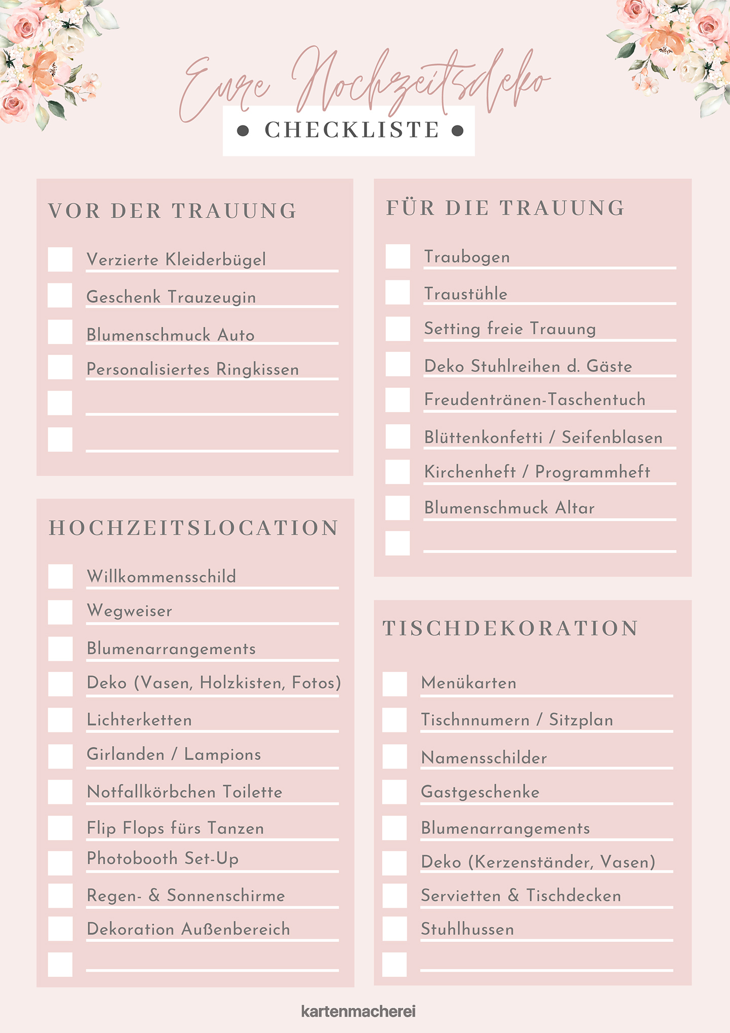 Hochzeitsdeko Checkliste zum Downloaden & Ausdrucken