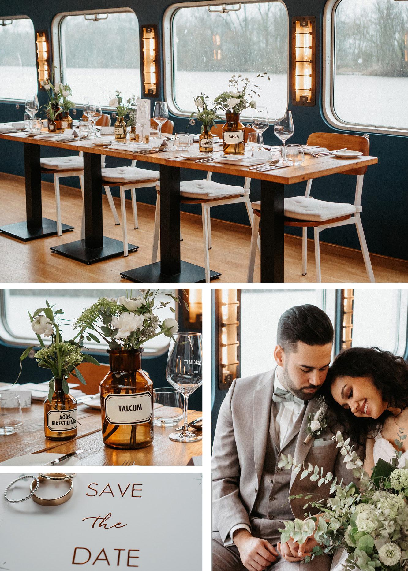 Kleine Hochzeit auf einem Hausboot Hochzeitsdekoration, Tischdekoration