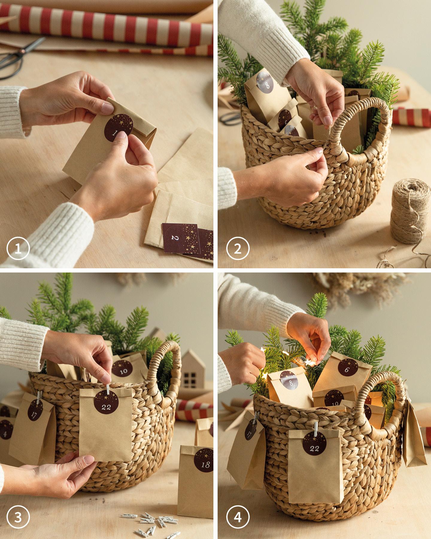 Adventskalender selber basteln: Tüten aus Kraftpapier werden mit Süßigkeiten gefüllt und in einen Weidenkorb gestellt.