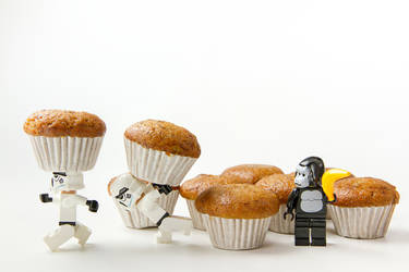Nonthabure, Thailand - May, 31, 2016: Lego star wars burglarize banana cake.The lego Star Wars mini figures from movie series.Lego is an interlocking brick system collected around the world.