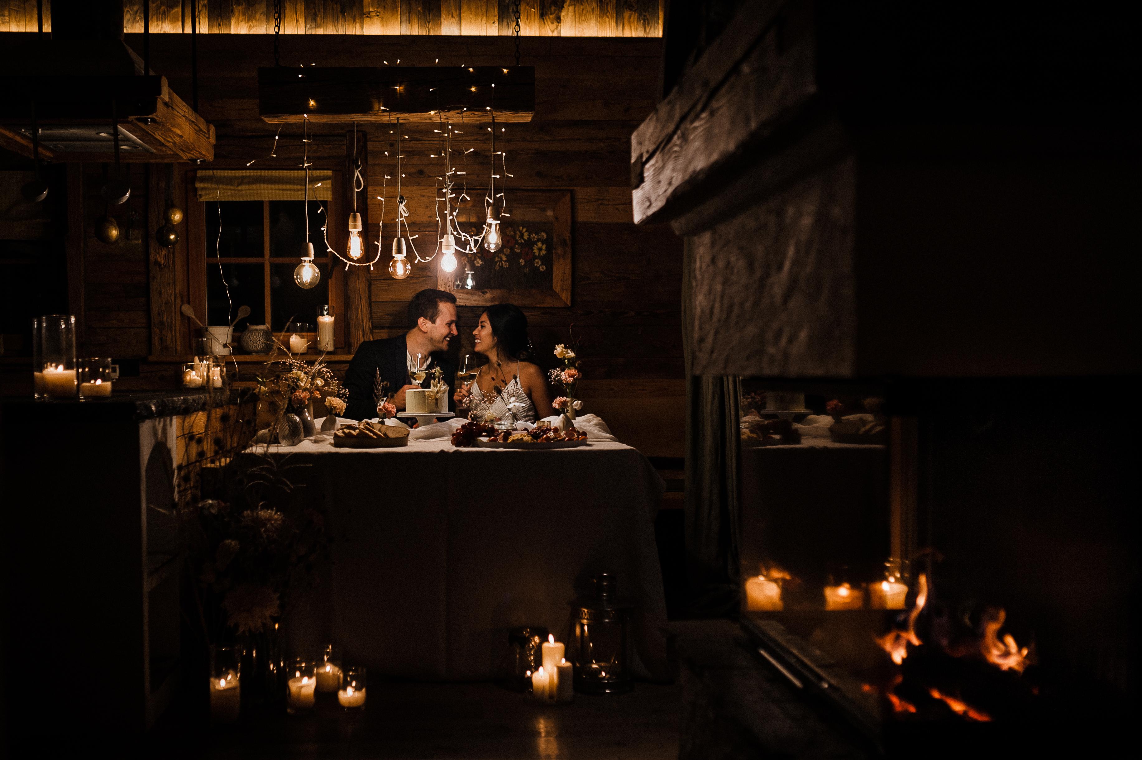 Elopement, Abend in einer wunderschönen Hütte mit Koch