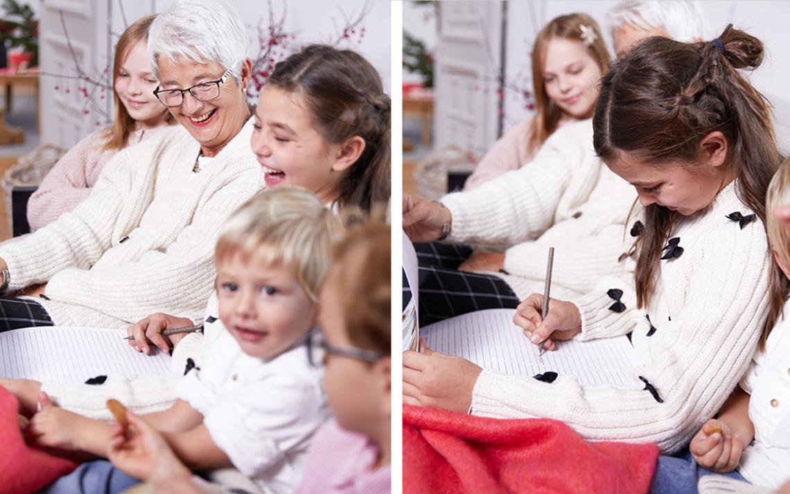 Die Familie versammelt sich Heiligabend zusammen und freut sich über selbstgestaltete Fotogeschenke Ideen