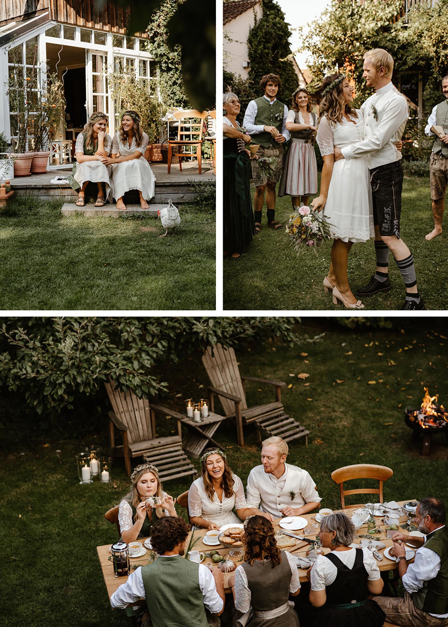 Die Hochzeit findet im grünen Garten statt, in dem die Gäste ausgelassen feiern und sich über das Hochzeitspaar freuen. Zusammen sitzen alle am Tisch und lachen.