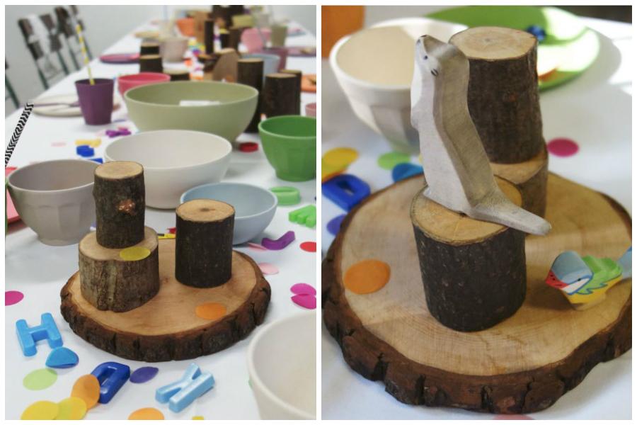 Kindertisch mit Holztieren