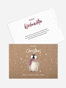 Weihnachtskarte im Kraftpapier-Look mit süßem Pinguin.