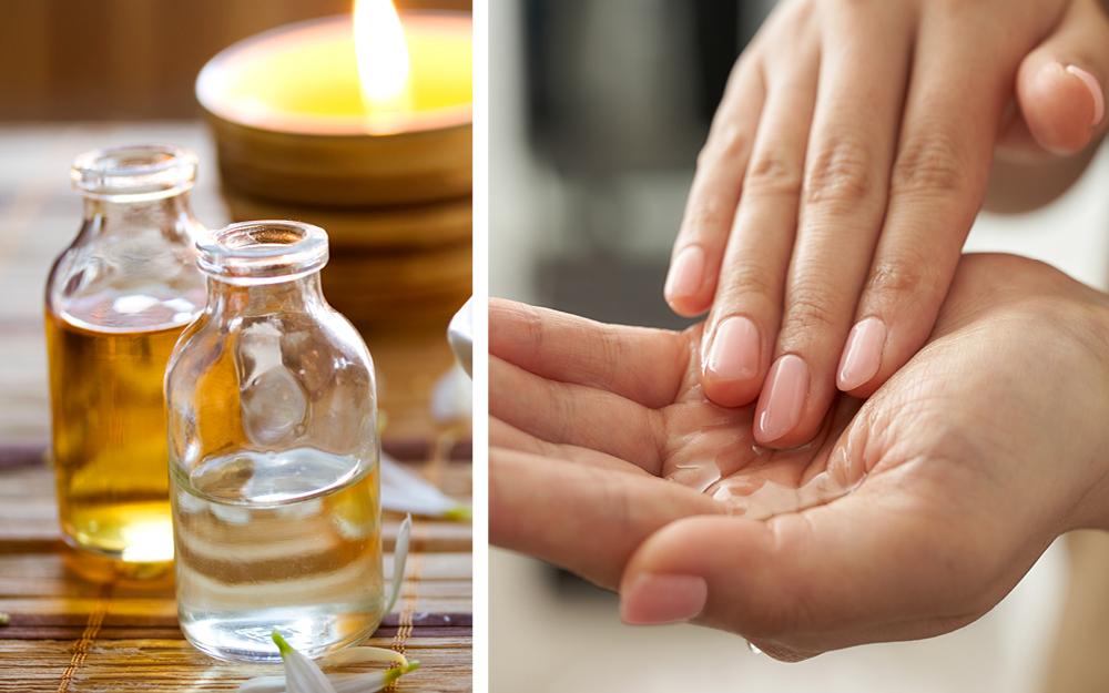 Naturbelassene Öle werden in den Händen verteilt