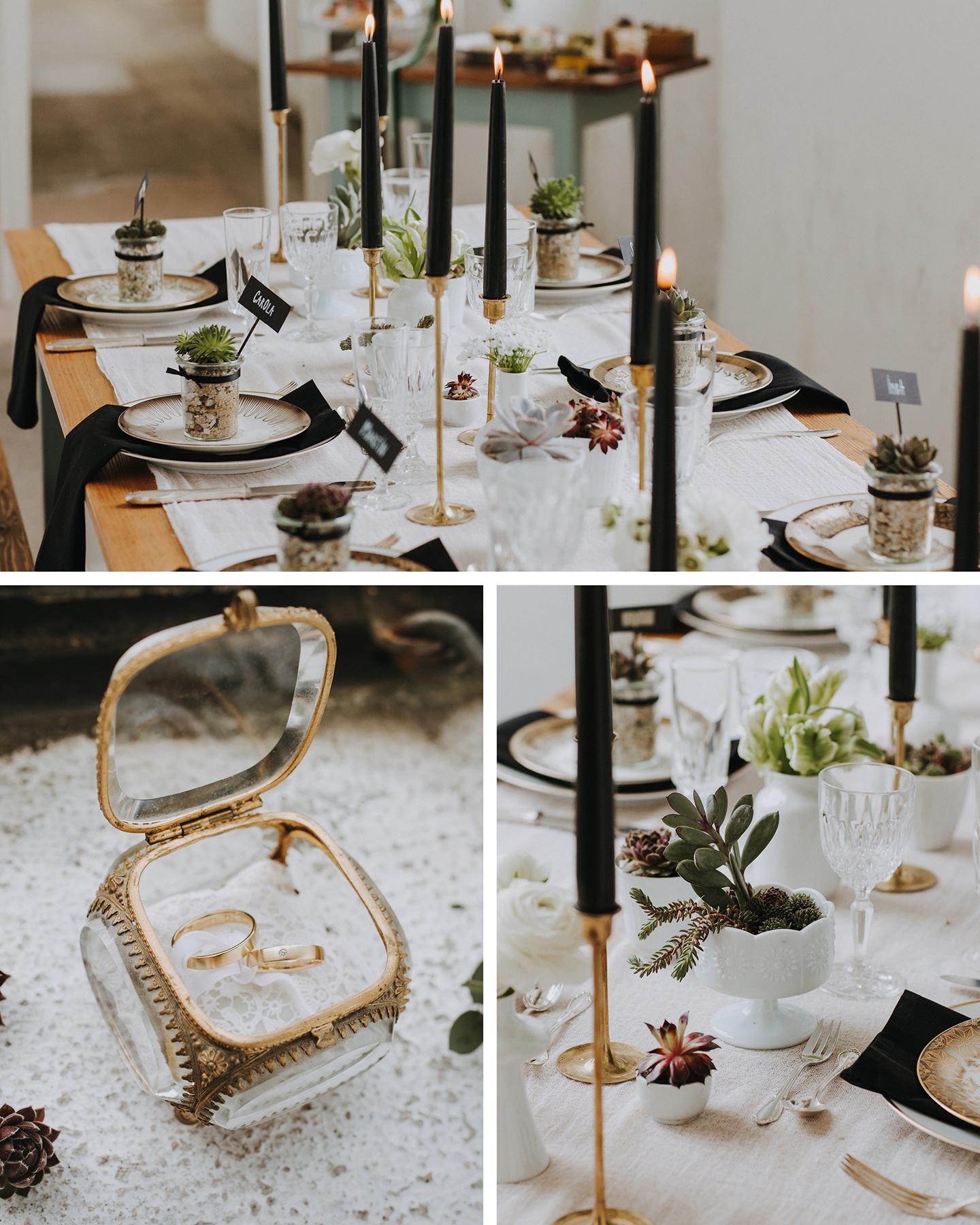 Hochzeitstafel ist passend zum Hochzeitstrend 2021 nachhaltig mit Sukkulenten und Kerzen aus Sojawachs dekoriert.